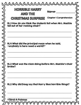 Christmas - Holiday Book Study: CCSS Horrible Harry & The Christmas Surprise
