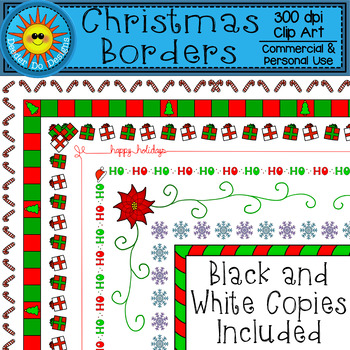 Christmas Borders Clip Art  (Color and Black and White)