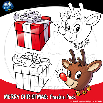 Christmas Holiday Clip Art Freebie! Christmas Gift and Rudolph!