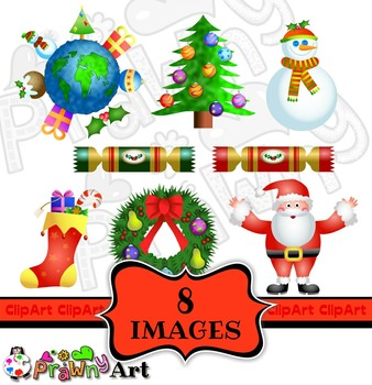 Christmas Holiday Clip Art Set - Winter Snowman - Decorative Wreath Clipart