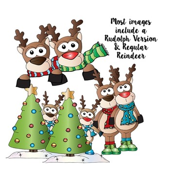 Christmas Holiday Clipart -Commercial Use Santa and Reindeer