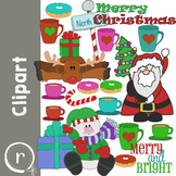 Christmas Holiday Clip Art with Santa Snowman and Reindeer (RDS Clipart)