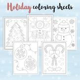 Christmas Holiday Coloring Sheets