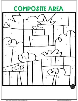Area of Composite Figures Coloring Worksheet by Lindsay ...