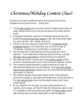 Christmas/Holiday Context Clues!