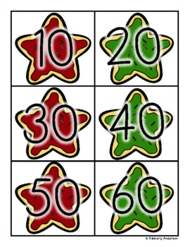 Christmas Holiday Cookie: Skip Counting by 10's - Card Sort Center and Worksheet