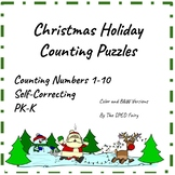 Christmas Holiday Counting Puzzles Freebie