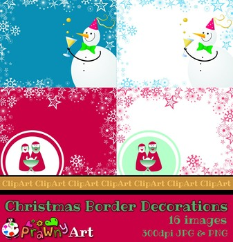 Christmas Holiday Digital Paper Background Border Set