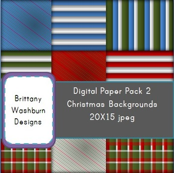 Christmas Holiday Digital Paper Background Pack 2