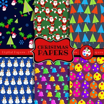 Christmas Holiday Digital Wrapping Paper Background Patterns