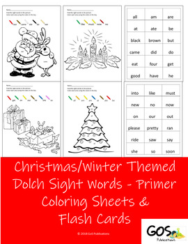 Christmas / Holiday  Dolch Sight Words Coloring Sheets and Flashcards {EDITABLE}