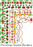 Christmas Holiday Doodle Borders Clip Art Blackline Color Commercial Personal