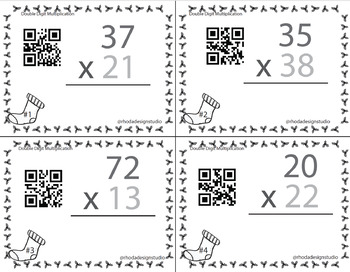 Christmas Holiday Double Digit Multiplication Math Task Cards