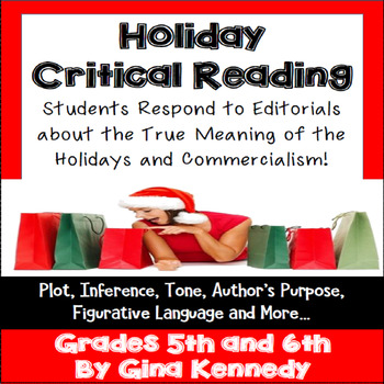 Christmas Holiday Critical Reading Activity, Commercialism Point of View
