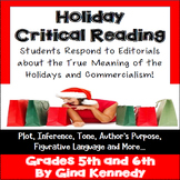 Christmas Reading Activity, Holiday Commercialism Point of View