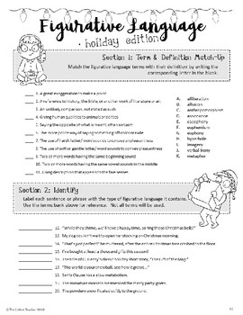 Christmas Holiday Figurative Language Activities for High School