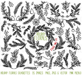 Christmas Holiday Floral Silhouettes Clipart Clip Art - Commercial & Personal