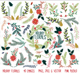 Christmas Holiday Florals and Ornaments Clipart Clip Art - Commercial & Personal