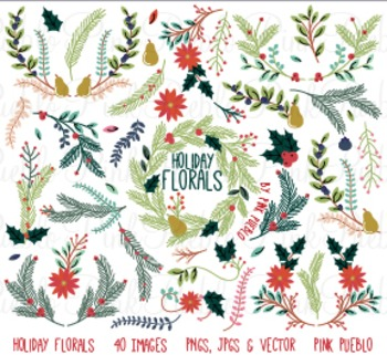 Christmas Holiday Florals and Ornaments Clipart Clip Art -