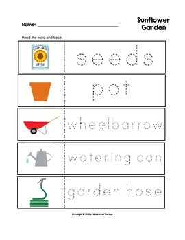 Sunflower Garden Trace the Words Worksheets Preschool/Kindergarten