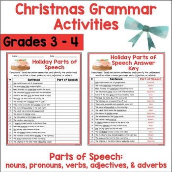 Christmas Holiday Grammar Activities
