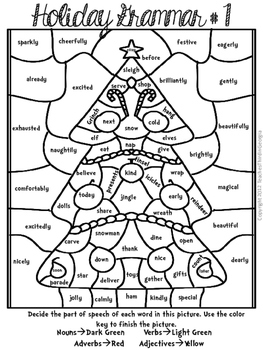 Christmas Holiday Grammar Mosaics- Color By Part of Speech ...