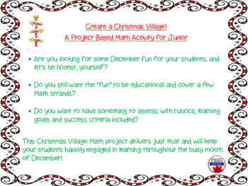 Christmas/Holiday Junior Math Project - Create a Christmas/Holiday Village ON
