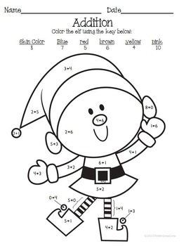 Christmas Holiday K-1 Color By Adding Subtracting Sight Words set of 4