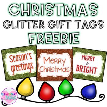Christmas Glitter Gift Tags- FREEBIE