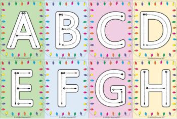 Christmas Holiday Lights Alphabet Letter Formation Cards - Upper & Lower Case