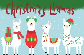 Llama Christmas.Christmas Holiday Llama Pack