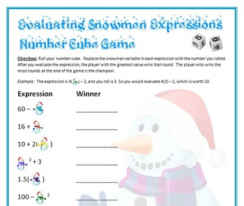 Christmas Holiday Math - Snowman Number Cube Game - Evaluate Expressions