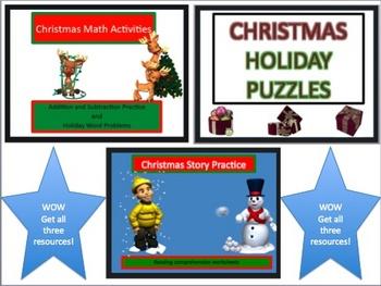 Christmas Holiday Math and ELA ultimate Worksheet Packet with Keys