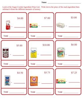 Christmas, Holiday Morning Math Money Worksheets