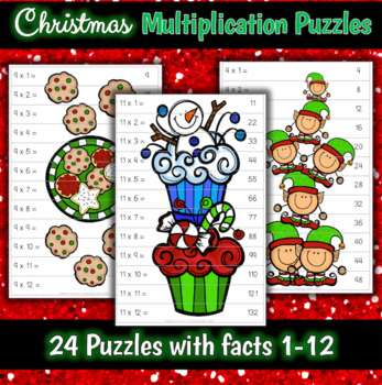 Christmas Holiday Multiplication Puzzles