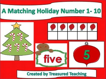 Christmas Holiday Number Matching Numbers 1-10 Math Center Activity