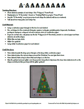 Christmas Holiday O Geometry Song and Craft Activity (Polygons and Shapes)