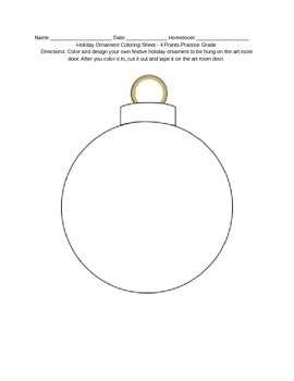 Christmas/Holiday Ornament Coloring Page