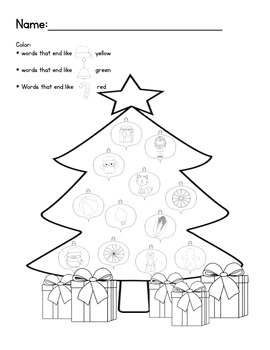 Christmas Holiday Pack: beginning, ending sounds and rhyming words (Common Core)
