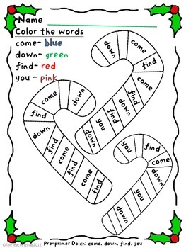 print n go christmas holiday packet dolch pre kk sight words