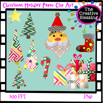 Christmas Holiday Paper Clip Art