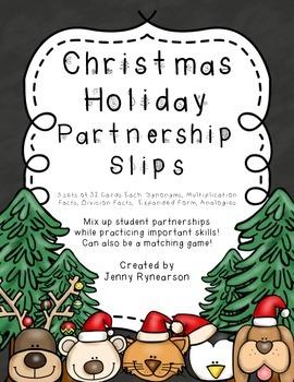 Christmas Holiday Partnership Slips! Mix and Match Cards!