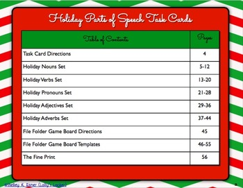 Christmas Holiday Parts of Speech Task Card Bundle