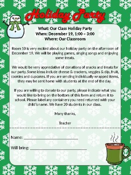 Christmas/Holiday Party letter - fully editable