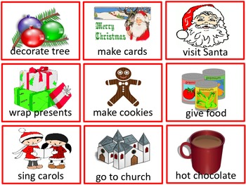 Christmas/ Holiday Picture Word Flashcards + Word Cards