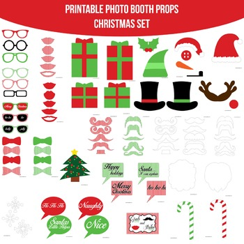 Christmas Red Printable Photo Booth Prop Set