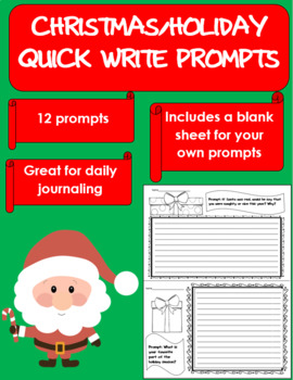 Christmas Holiday Quick Write Journals