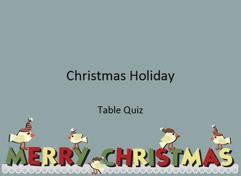 Christmas Holiday Quiz - UK Spelling
