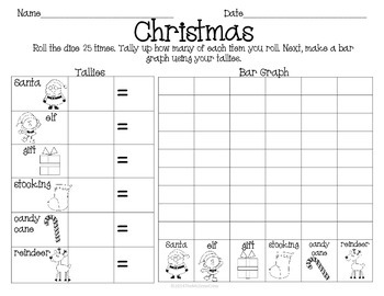 Christmas Holiday Roll Tally Graph Math Activity Set
