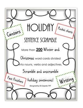 Christmas Sentence Builder. Make sentences using different